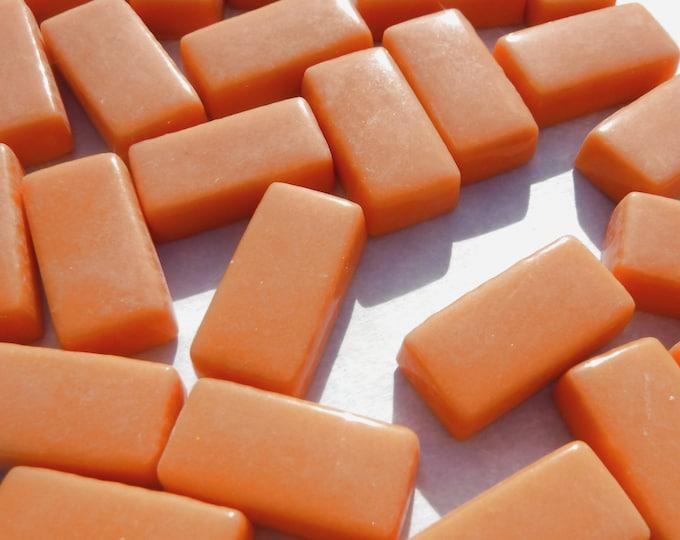 Orange Rectangle Mosaic Tiles - 20mm - 100g Opaque Glass Bar Tiles