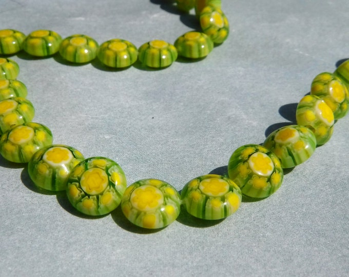 Yellow and Green Millefiori Glass Beads -  8mm