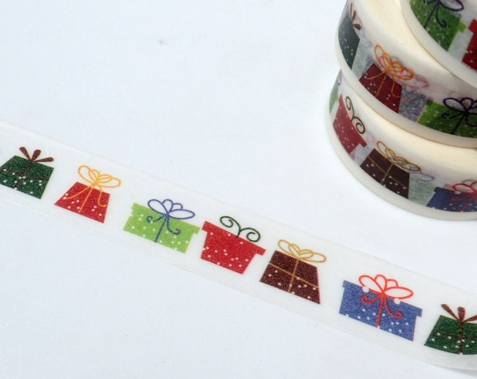 Gifts Washi Tape - Paper Tape Great for Scrapbooking Paper Crafts and Decorations - Christmas Presents Birthday Colorful Wrapping 15mm x 10m