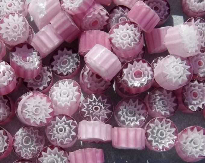 White Flowers in Pink Millefiori - 25 grams - Unique Mosaic Glass Tiles -  Floral Pattern