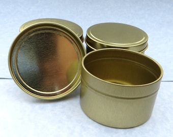 Gold Round Tin with Lid - 6 ounces Circle - Seamless and Food Safe - Use for Wedding Favors Candles or Gifts - Just 1