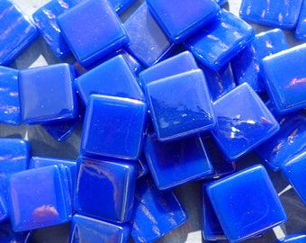 Brilliant Blue Iridescent Glass Square Mosaic Tiles - 50g of 12mm Squares in Dark Royal Blue
