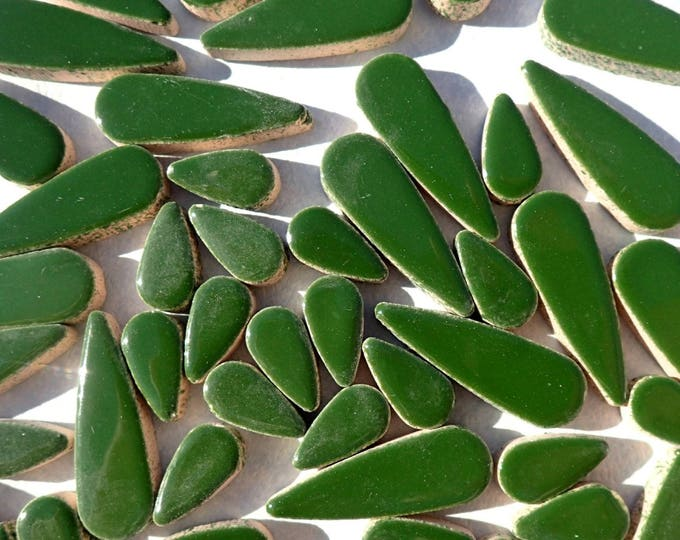 "Deep Green Teardrop Mosaic Tiles - 50g Ceramic Petals in Mix of 2 Sizes 1/2"" and 3/5"" in Pesto"