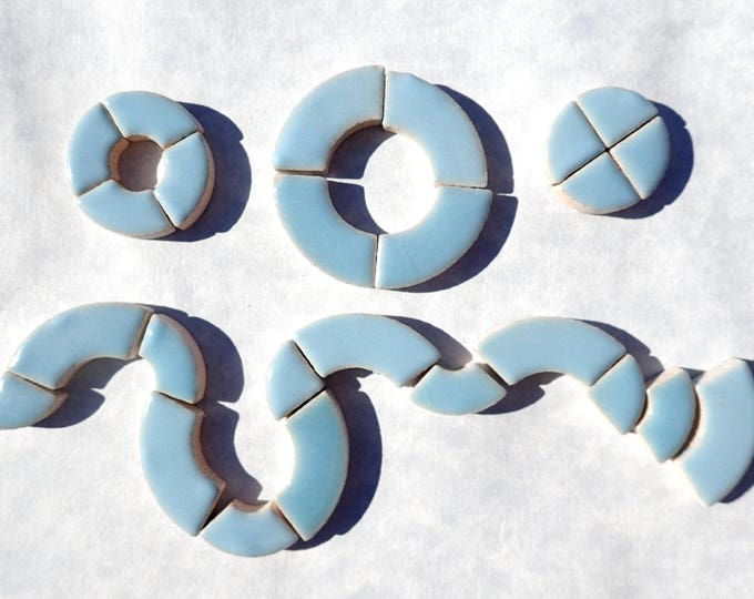 Light Blue Bullseye Mosaic Tiles - 50g Ceramic Circle Parts in Mix of 3 Sizes in Azure