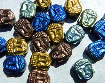 Buddha Beads - 24 Colorful Metallic - 8mm - Electroplated Hematite