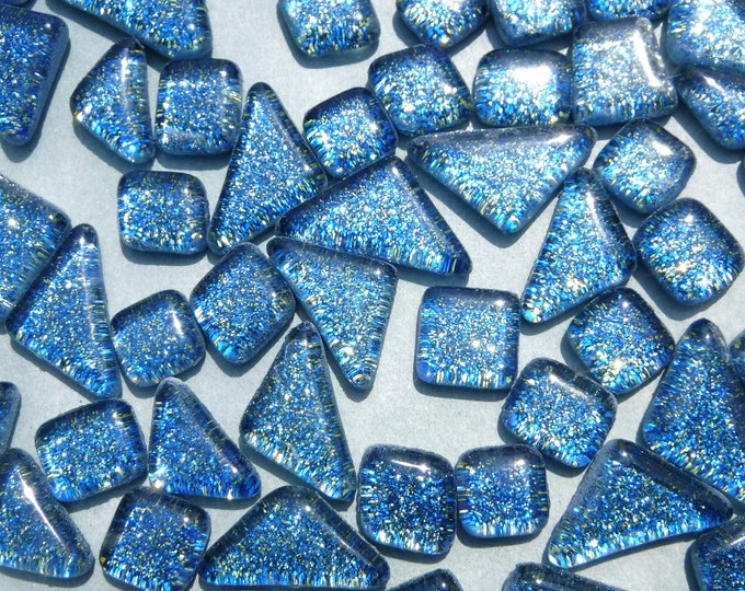 Blue and Gold Glitter Puzzle Tiles - 100 grams