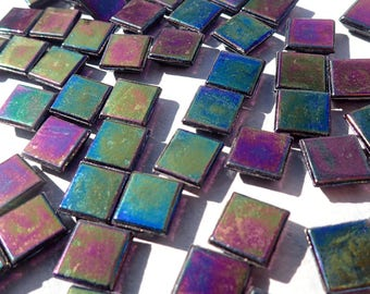 Black Iridescent Glass Tiles - 1 cm - 100 grams