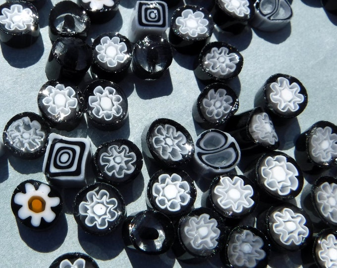Black and White Millefiori - 25 grams - Mix of Patterns