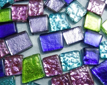 Calypso Glass Tiles - Metallic Foil - Assorted Shapes - 50 grams in Brighter Colors