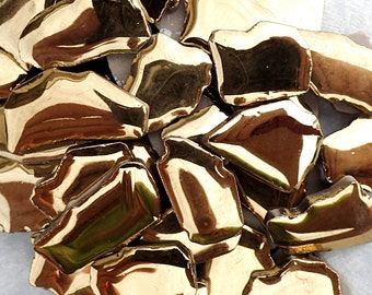Gold Mosaic Ceramic Tiles - Random Jigsaw Puzzle Shapes Metallic - 100g