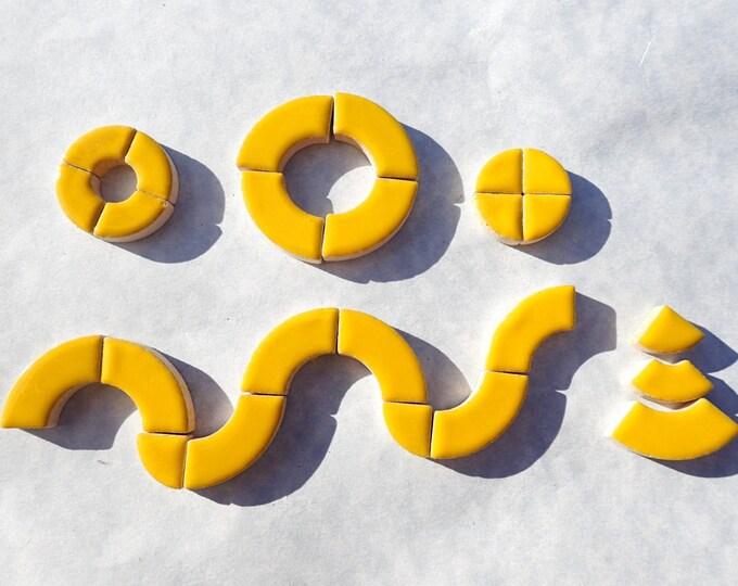 Lemon Yellow Bullseye Mosaic Tiles - 50g Ceramic Circle Parts in Mix of 3 Sizes