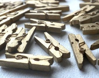"Gold Mini Clothespins - 25 - 1"" or 2.5 cm - Wooden - Great for Wedding Favors Scrapbooking and Decorations"