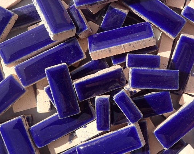 "Dark Blue Mini Rectangles Mosaic Tiles - 50g Ceramic in Mix of 3 Sizes 3/8"" and 5/8"" and 3/4"" in Indigo"