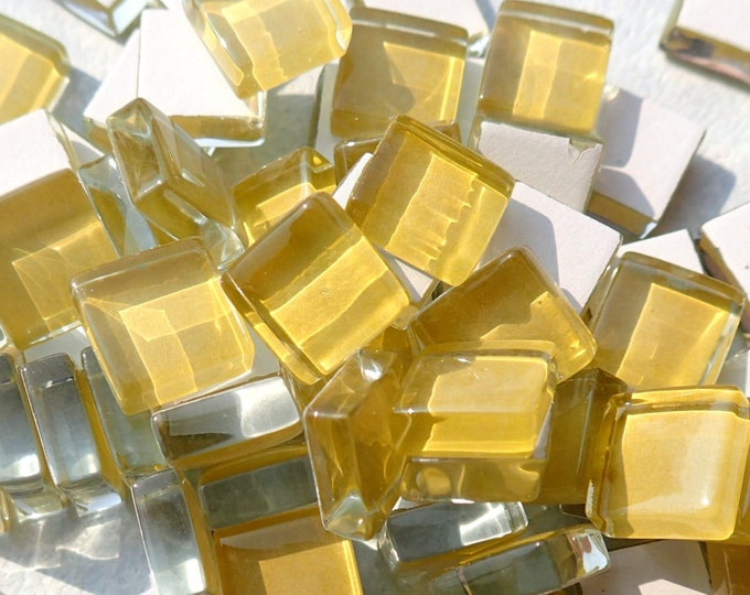 Yellow Glass Tiles - 1 cm - Goldenrod Crystal Mosaic Tiles - Set of 100 - Use for Mosaic Jewelry Crystal