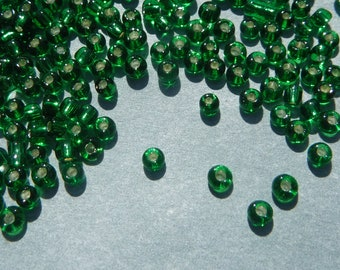 Green Silver Lined Glass Seed Beads - 2mm - 20g - 1500 beads