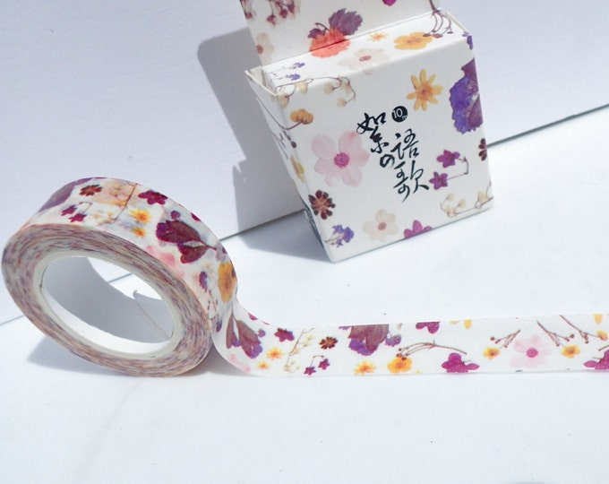 Purple Floral Washi Tape - Paper Tape Great for Scrapbooking Paper Crafts and Decorations - Flowers in Pink Purple and Yellow 15mm x 10m