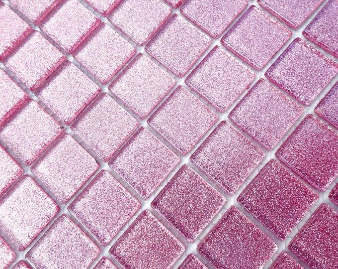Pink Glitter Tiles - 1 inch Mosaic Tiles - 25 Metallic Glass Tiles - Mauve