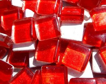 Shimmering Red Foil Square Crystal Tiles - 12mm - 50g