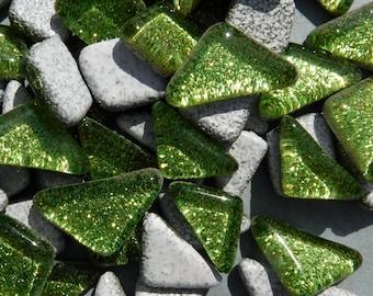 Shamrock Green Glitter Puzzle Tiles - 100 grams