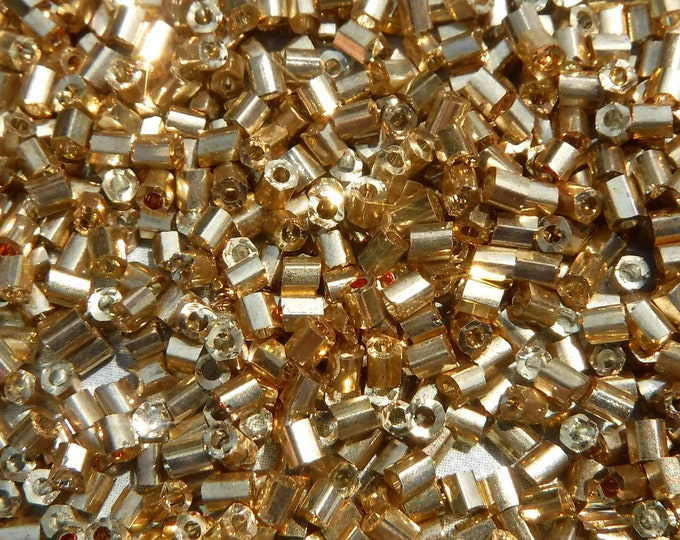 Gold Tube Beads - 2x3mm - 20g Glass Spacer Beads - Approximately 1440 Bugle Beads
