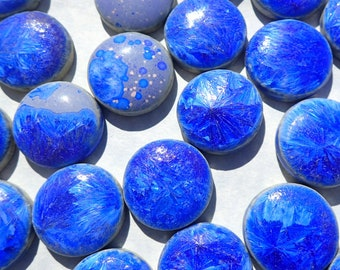 Deep Blue Ceramic Tiles - Round Mosaic Tiles - 2 cm or .75 inch - 25 Tiles - Penny Rounds Crystalline Glaze