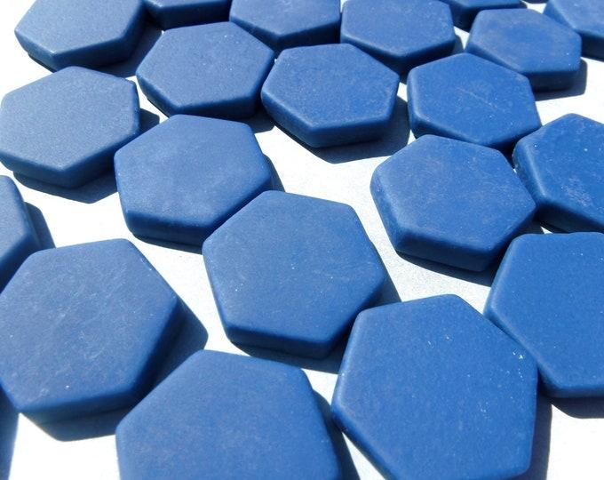 Blueberry Hexagon Mosaic Tiles - 25 Glass 23mm Matte Tiles