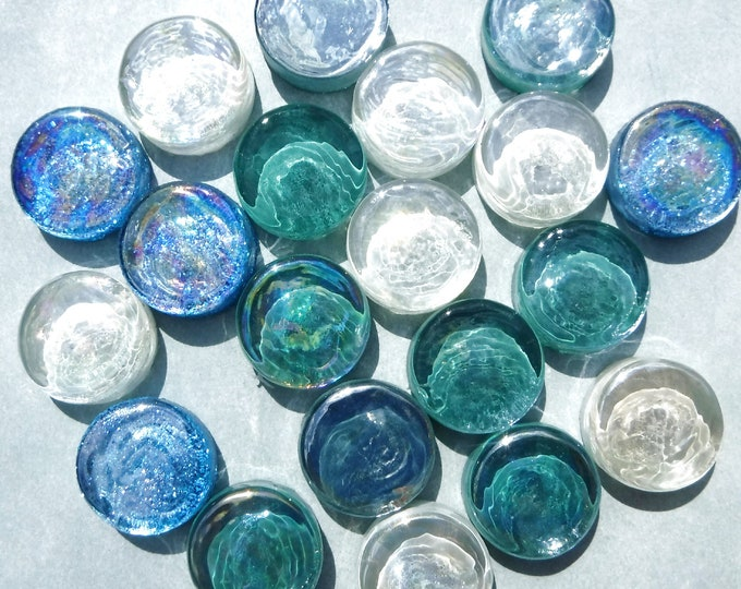 Tide Pool Blue and Green Glass Tiles - Some Glitter - 50 Tiles