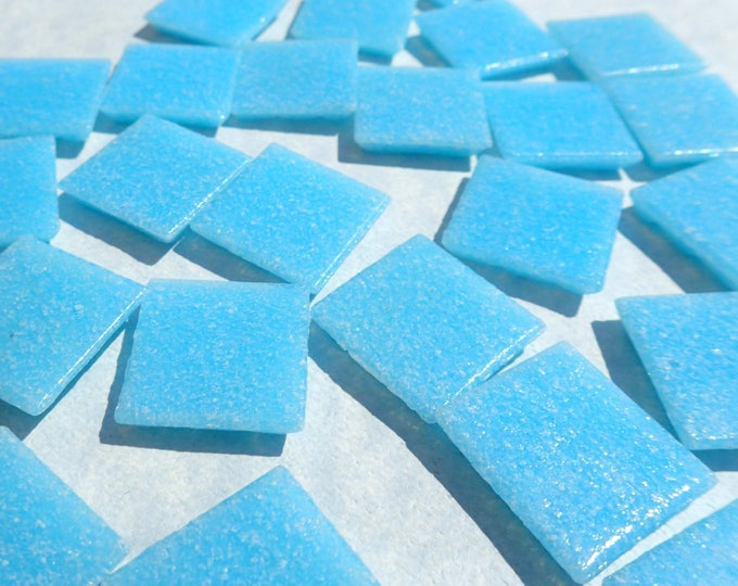 "Light Blue Glass Mosaic Tiles Squares - 3/4"" - Half Pound of Sky Blue Vitreous Glass Tiles for Craft Projects - Mosaic Supplies"