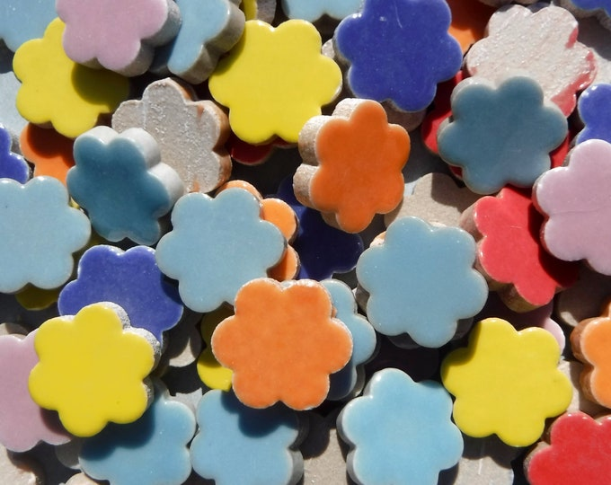 "Flower Mosaic Tiles - 50 Ceramic 3/4"" Inch Tiles in Assorted Colors"