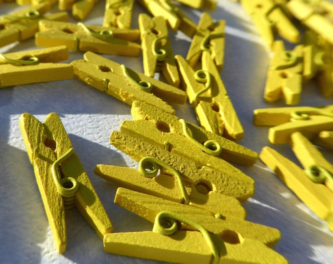 "Mini Clothespins in Yellow - 25 - 1"" or 2.5 cm - Wooden - Great for Party Favors Baby Shower Favors Scrapbooking and Paper Crafts"