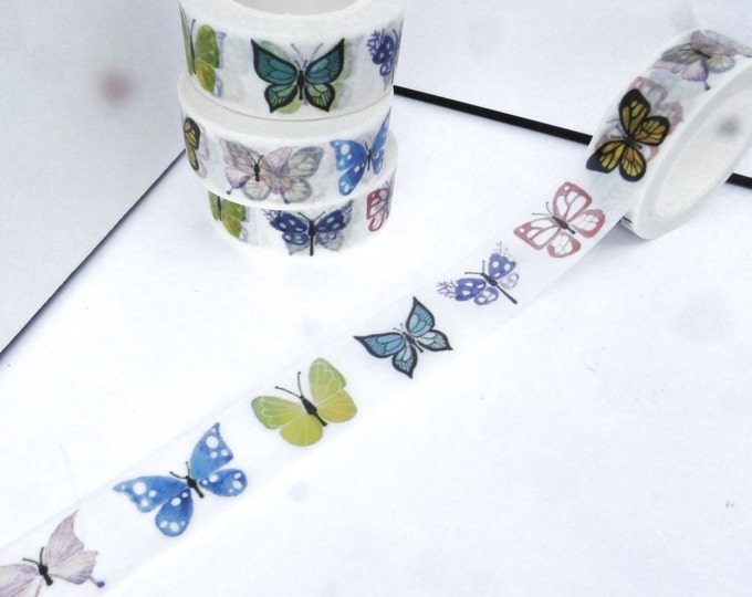 Butterfly Washi Tape - Paper Tape Great for Calendars Scrapbooking Paper Crafts Organizing 15mm x 10m