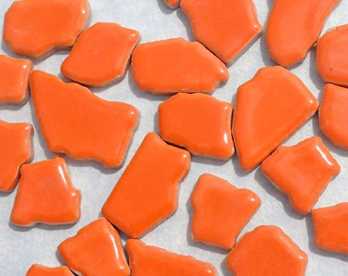 Orange Mosaic Ceramic Tiles - Random Puzzle Shapes - Half Pound