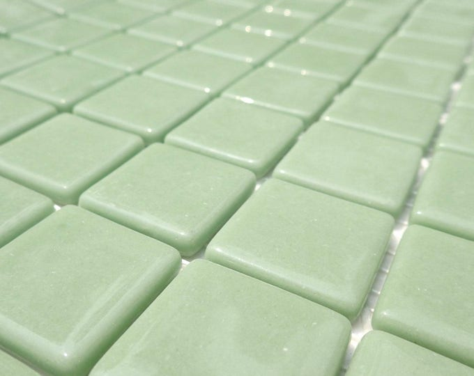 Sage Green Glass Mosaic Tiles Squares - 1 inch - 25 Recycled Glass Tiles