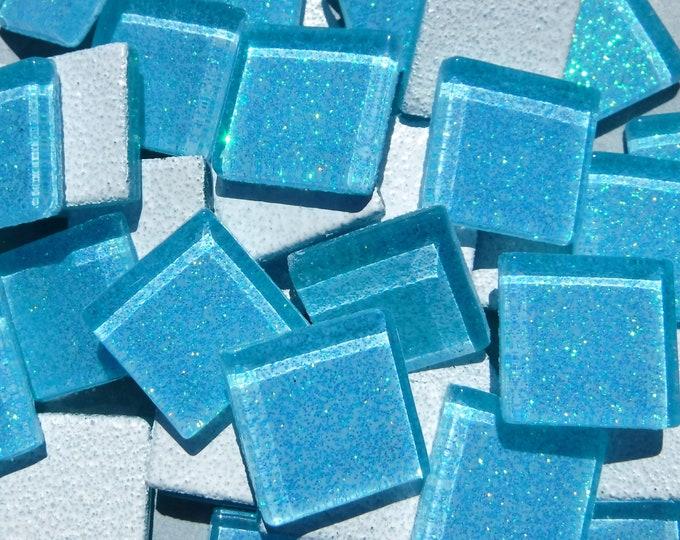 Poolside Blue Glitter Tiles - 25 Glass 20mm Tiles