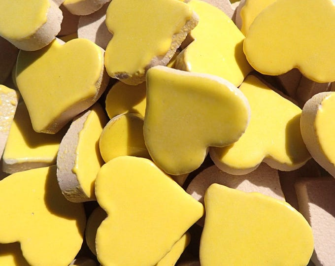 Yellow Heart Mosaic Tiles - 25 Large Ceramic 5/8 inch Tiles