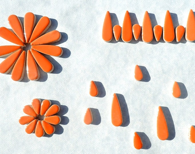 "Orange Teardrop Mosaic Tiles - 50g Ceramic Petals in Mix of 2 Sizes 1/2"" and 3/5"""