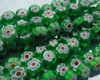 Green and Red Millefiori Glass Beads -  10mm - Green Apple