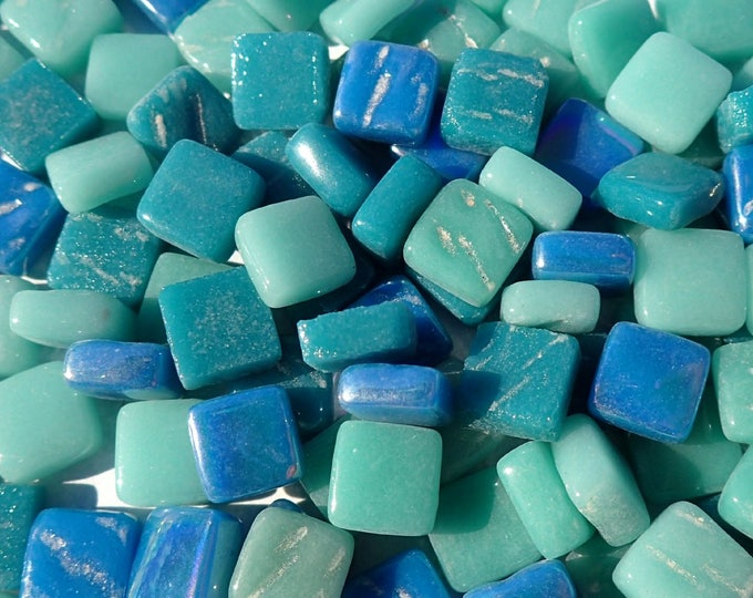 Sea Green Mix Mini Glass Tiles - 8mm Square - 50 grams Opaque Glass Solid Color Mix of Bright and Pale Teal Iridescent and Matte Tiles