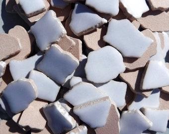 Ice Blue Mosaic Ceramic Tiles - Jigsaw Puzzle Shaped Pieces - Half Pound