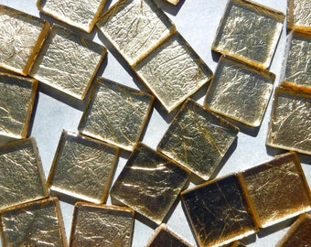 Gold Foil Square Tiles - 25 Tiles - 20mm