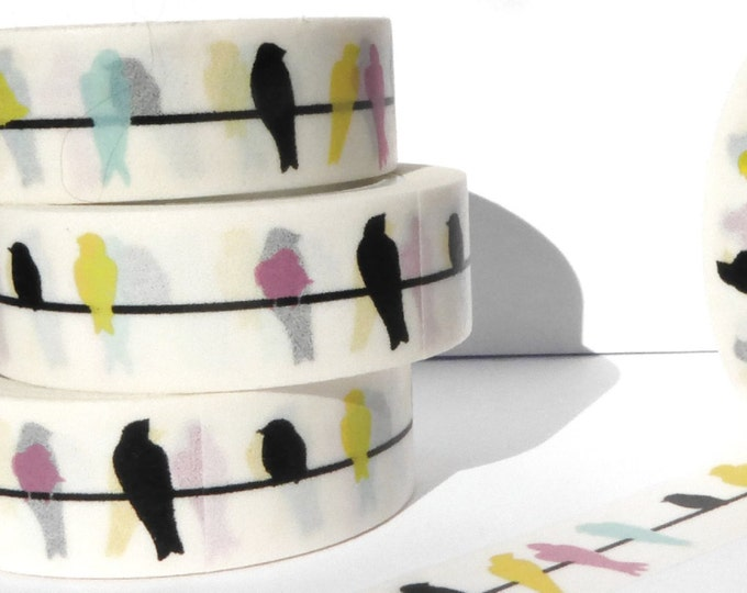 Colorful Birds Washi Tape - Paper Tape Great for Calendars Scrapbooking Paper Crafts Organizing 15mm x 10m