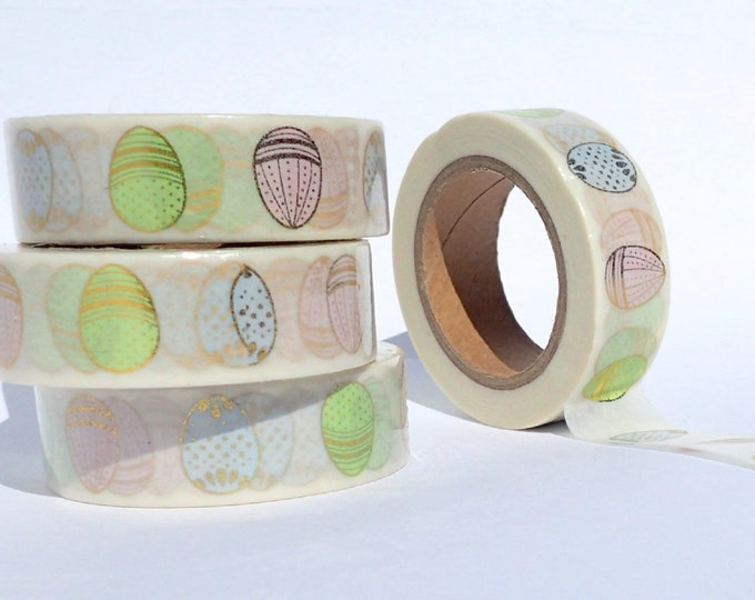 Easter Egg Foil Washi Tape - Pastel Eggs with Gold - Paper Tape Great for Scrapbooking Paper Crafts and Mixed Media - 15mm x 10m
