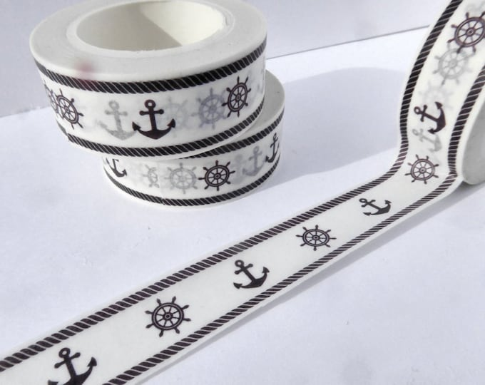 Nautical Washi Tape - Anchors and Ship Steering Wheel Paper Tape Great for Scrapbooking Paper Crafts and Decorations - Boat Theme 15mm x 10m