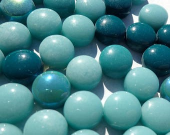 Teal Mint Mix Glass Drops Mosaic Tiles - 100 grams - Mix of Gloss and Iridescent Glass Gems