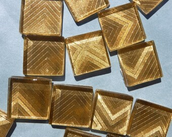 Geometric Gold Foil Square Tiles - 25 Glass Mosaic Tiles - 20mm
