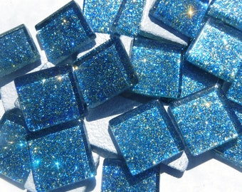 Blue and Gold Glitter Tiles - 20mm Mosaic Tiles - 25 Metallic Glass Tiles