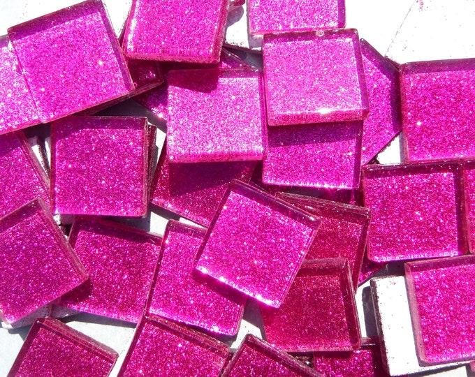 Dark Pink Glitter Tiles - 25 Metallic Glass 20mm Tiles
