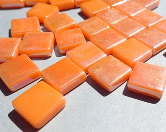 Orange Iridescent Glass Square Mosaic Tiles - 12mm - Opaque Glass Solid Color - 50g of Squares