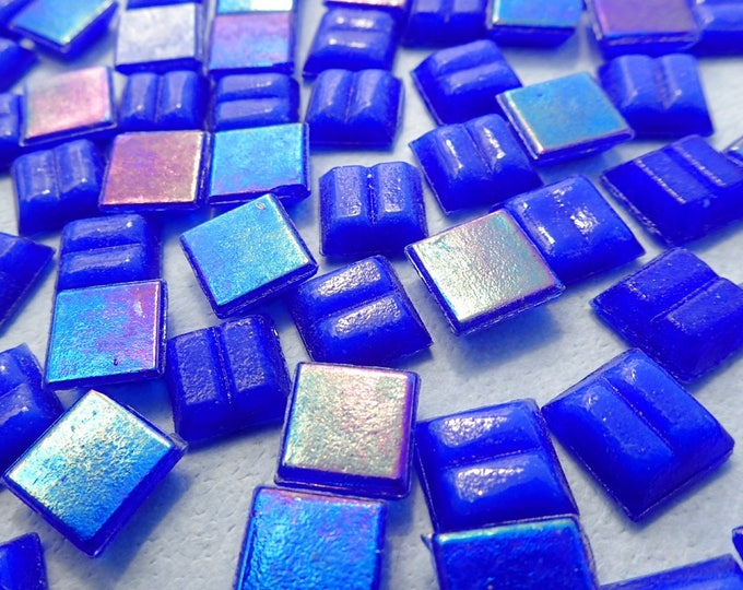 Blue Iridescent Venetian Glass Tiles - 1 cm - Approx 3/8 inch - Mini Mosaic Tiles - 100 grams