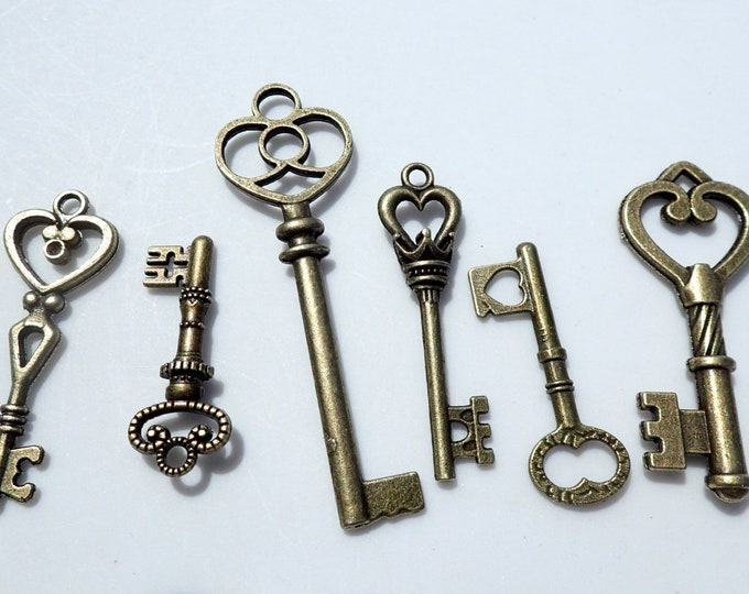 Skeleton Keys - 6 New Bronze Toned Keys for Mosaics Mixed Media Art Jewelry - Heart Key Pendants